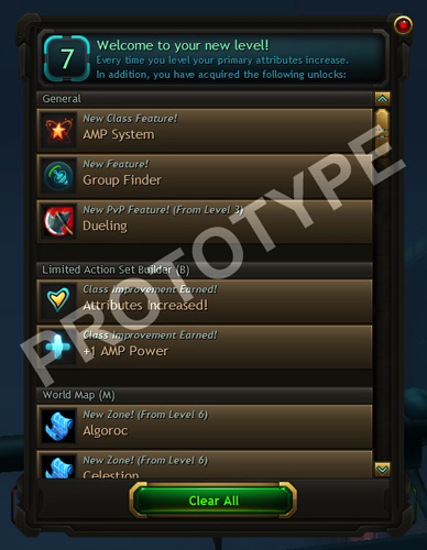 WildStar Level Up UI