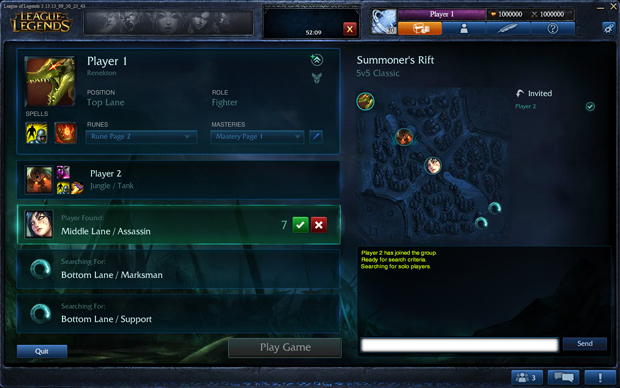 League of Legends Team Builder PBE