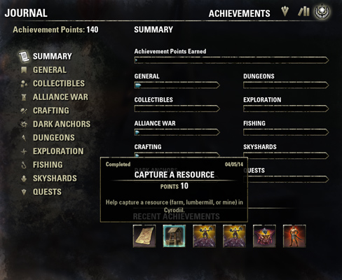 Elder Scrolls Online Launch Review Achievements