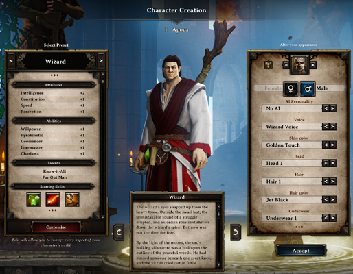 Divinity: Original Sin Character Creation