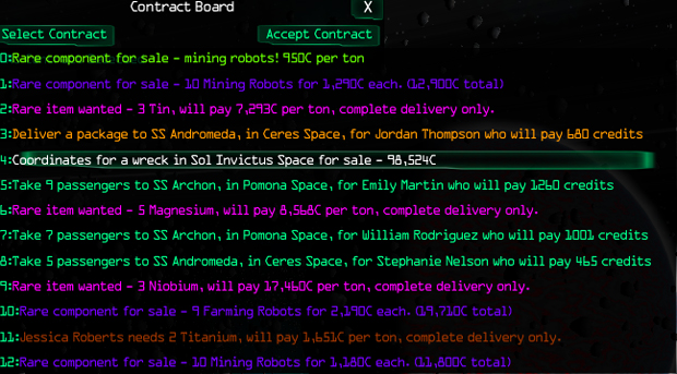 Ascent Space Game Contract Board