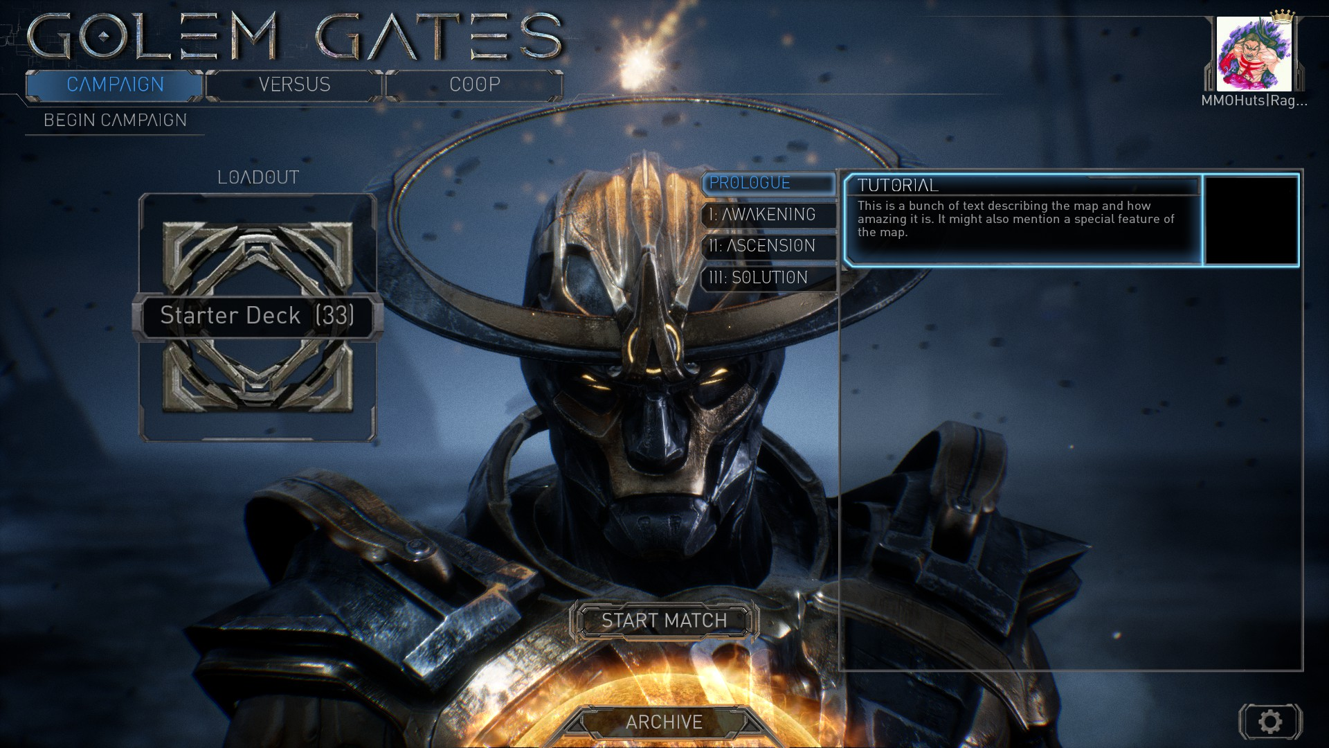 Golem Gates Preview - Main Menu