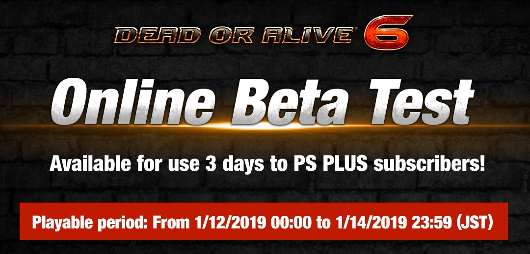Dead or Alive 6 Online Beta Test Promo